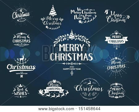 Merry Christmas lettering typography. Handwriting text design with winter holidays calligraphy. Happy New Year greeting card decoration on blue background with blur lights. Abstract vector set.