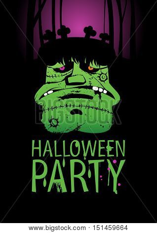 Halloween Party Design template, with Frankenstein, rasterized version