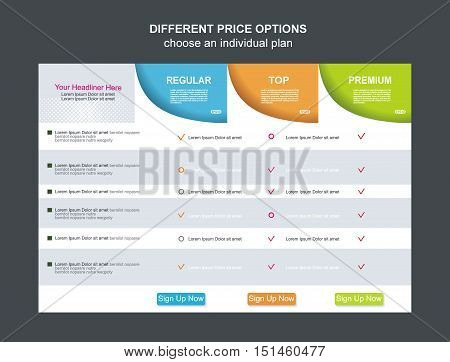 Price List Widget With 3 Payment Plans For Online Services