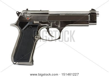Automatic 9Mm Handgun Pistol Isolated On A White Background