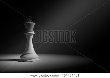 3D Rendering : Illustration of white king chess in a very dark room with light painting drop on a chess,leader concept,business success concept poster