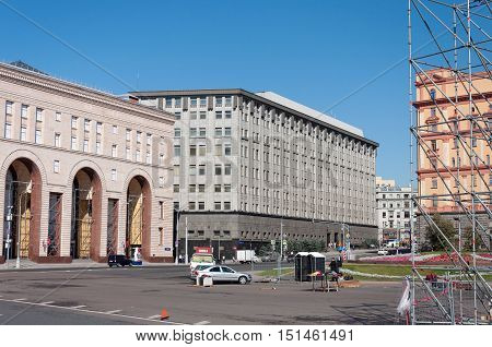 MOSCOW, RUSSIA - 21.09.2015. Lubyanka square The building of the FSB of Russia