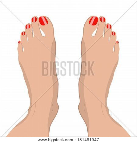 female feet with red pedicure. vector illustration in flat style om white