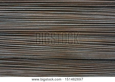 background texture of horizontal armature rods steel