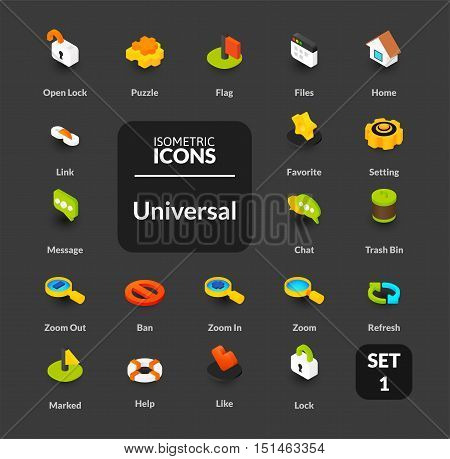 Color icons set in flat isometric illustration style, vector symbols - Universal collection