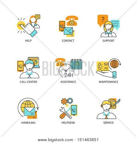 Contact us line concept set with help contact support assistance helpdesk handling and other descriptions vector illustration
