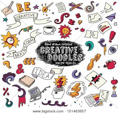 Creative doodles idea brainstorm isolate objects set. Cartoon hand drawn doodles. Color detailed vector illustration with lots of objects . EPS8