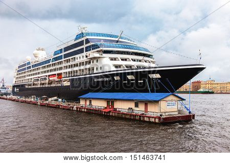 ST. PETERSBURG RUSSIA - JUNE 18 2016: Five-star modern luxury cruise ship
