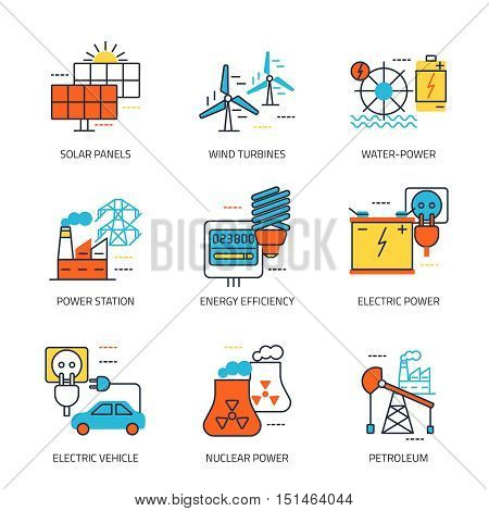 Energy sources line emblem with solar panel power station electric power petroleum descriptions vector illustration