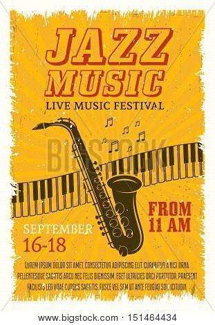 Jazz music festival poster with notes keyboard and saxophone on yellow radial textured background vector illustration
