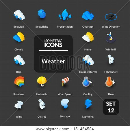 Color icons set in flat isometric illustration style, vector symbols - Weather collection