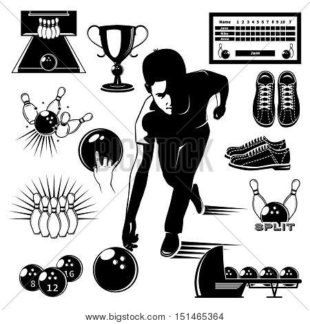 Bowling elements vintage style set with player on alley trophy and sports equipment isolated vector illustration