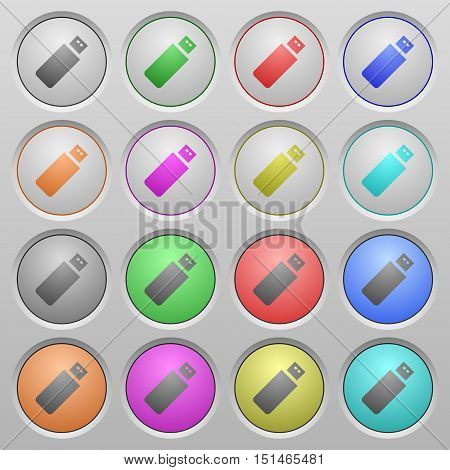 Set of pendrive plastic sunk spherical buttons.