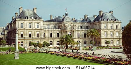 PARIS FRANCE - CIRCA September 2015 - Luxembourg Palace situated in Luxemburg Gardens (Jardin du Luxembourg)