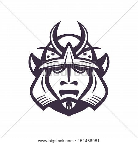 Samurai helmet, japanese facial armour worn by the samurai warrior, japanese traditional martial mask isolated on white, vector illustration