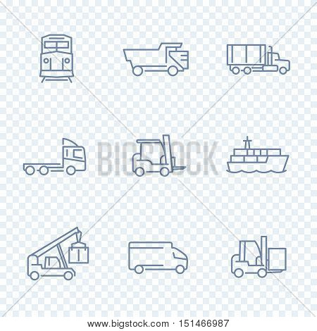 Transportation icons, forklift, cargo ship, train, truck, transit, transportation linear pictograms, isolated line icons, vector illustration