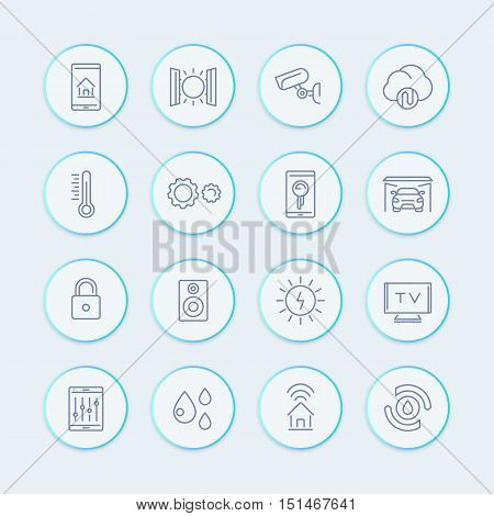 smart house technology system line icons, home automation control system, smart house round pictograms, vector illustration
