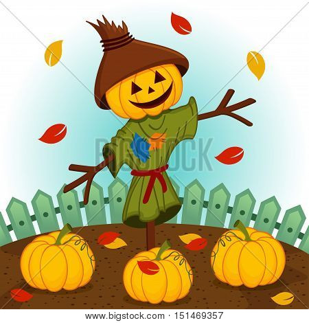 scarecrow with a pumpkin head - vector illustration, eps