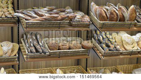 bread in a shop window in a big supermarket
