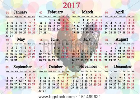 office calendar for 2017 with image of on the multicolor background. Rooster is the symbol of next year