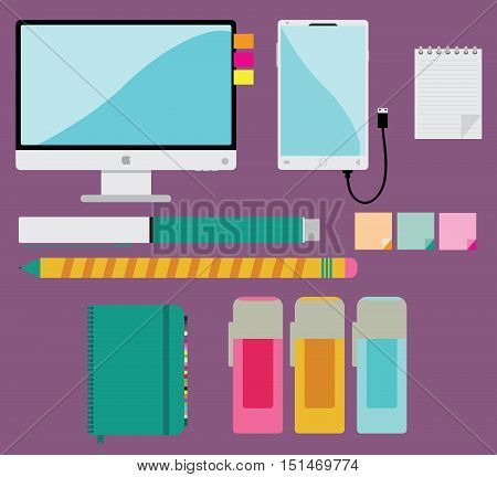 Office and business flat illustration. Flat design modern vector illustration concept of teamwork analyzing project on business and office meeting. Top view of desk background with computer, mobile, note book, diary, pen, pencil, sticker, and office objec