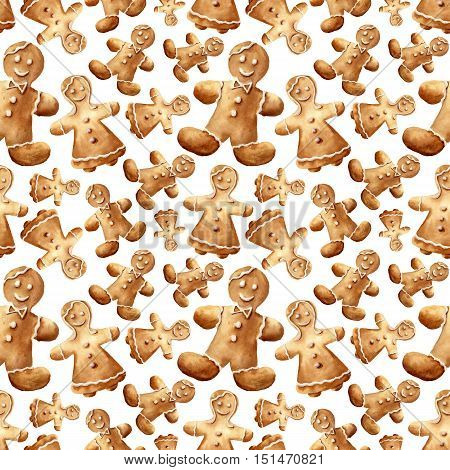 Watercolor christmas gingerbread man seamless pattern. Hand painted gingerbread man and women isolated on white background. For design, background or print.