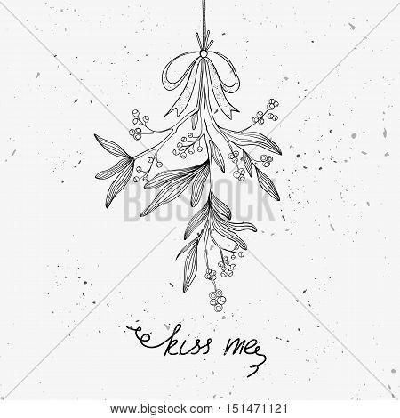 Hand drawn mistletoe. Vector Christmas plant background. Romantic Christmas illustration. Greeting card design. Vector mistletoe. Winter template.
