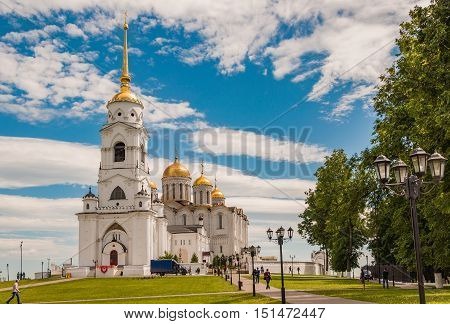VLADIMIR RUSSIA - JUNE 7 2015: Dormition Cathedral or Assumption Cathedral and Bell tower in Vladimir Russia. UNESCO World Heritage Site.
