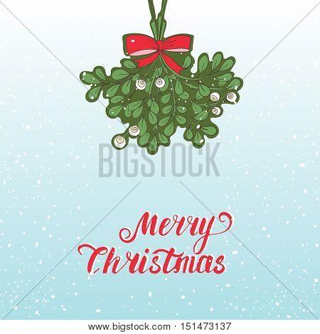 Hand drawn mistletoe. Vector Christmas plant  background.