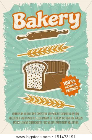 Bakery retro style poster with rye bread rolling pin wheat on blue textured background vector illustration