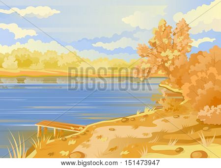 Autumn landscape in the open air. River bank. Bridge pier on the background of the pond. Cloudy sky. Shrubs and trees in pastel colors. Vector illustration.