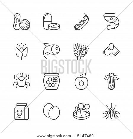 basic allergens thin line icons set. isolated. black color