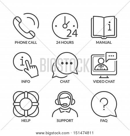 call center contact and support icons set thin line black color