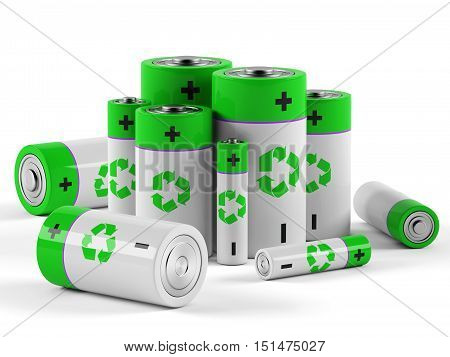 Batteries on a white background. 3D rendering