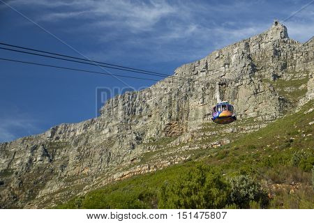 The Table Mountain Cable Way taking tourists onto Table Mountain