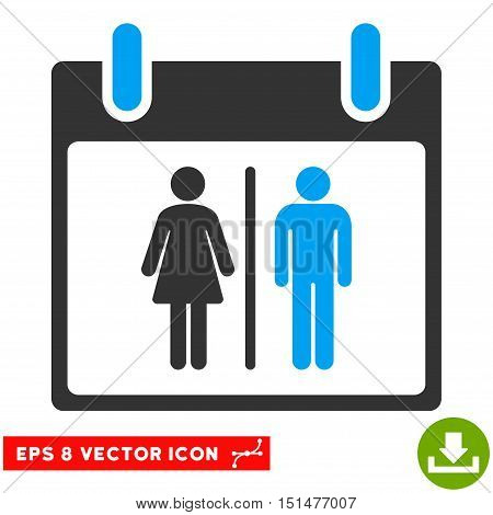 Water Closet Calendar Day icon. Vector EPS illustration style is flat iconic bicolor symbol, blue and gray colors.