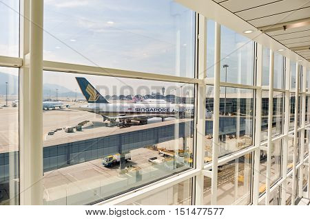 HONG KONG - NOVEMBER 03, 2015: view from Hong Kong Airport. Hong Kong International Airport is the main airport in Hong Kong. It is located on the island of Chek Lap Kok.