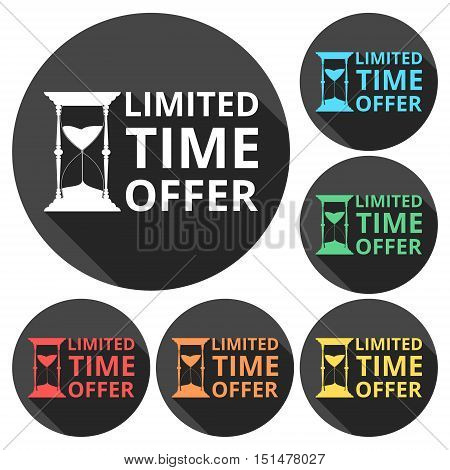 Limited time offer, hourglass symbol icons set with long shadow