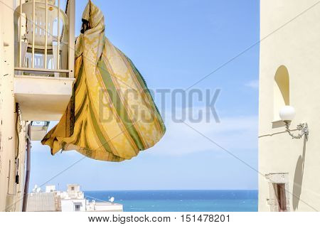 clothes hanging sea chores background landscape sea
