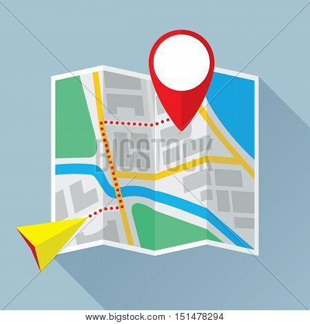 Folding paper city map with location mark, navigation pointer and route. Colored flat icon. Vector eps8 illustration.