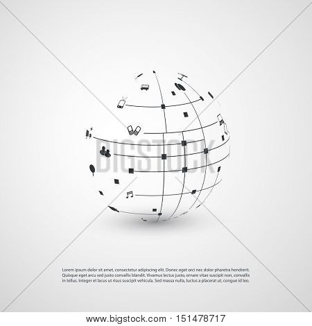 Minimal Cloud Computing, Digital Networks Structure, Telecommunications Concept Design, Modern Style Global Network Connections, Transparent Geometric Globe Wireframe With Icons - Vector Illustration