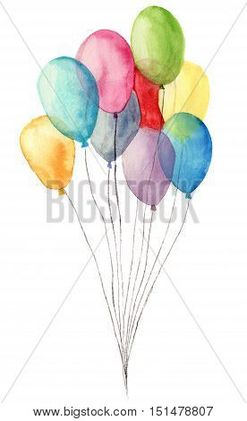 Watercolor air balloons. Hand painted illustration of blue, pink, yellow, purple balloons isolated on white background. Party or greeting object.