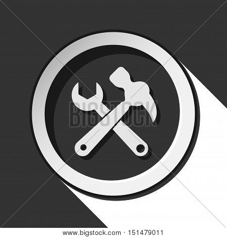 black icon - claw hammer with spanner and white long shadow
