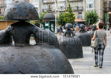 Santander Spain-August 16: famous sculptures by Manolo Valdes well-known spanish artist residing in New-York located on embankment of Santander-on August 16 2009 in Santander Cantabria Spain