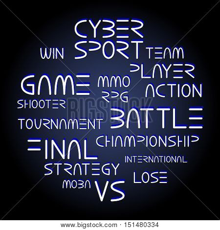 Cyber sport. Vector words and phrases related to computer games tournaments placed in circle shape poster