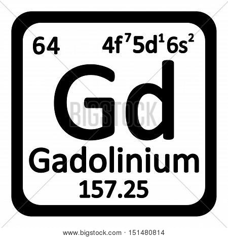 Periodic table element gadolinium icon on white background. Vector illustration.