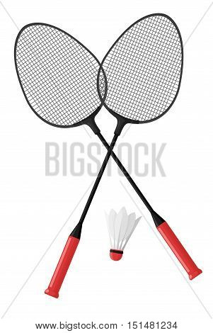 Two badminton rackets. Shuttlecock. Isolated on white background. Vector illustration in cartoon style.