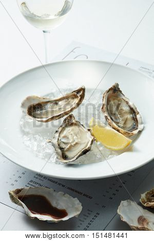 Raw Oysters served
