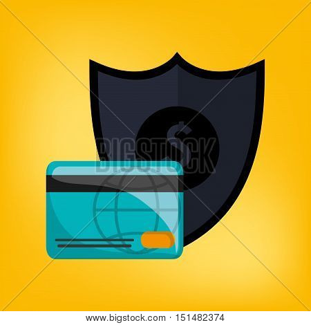 shield with economy and money related icons image vector illustration design