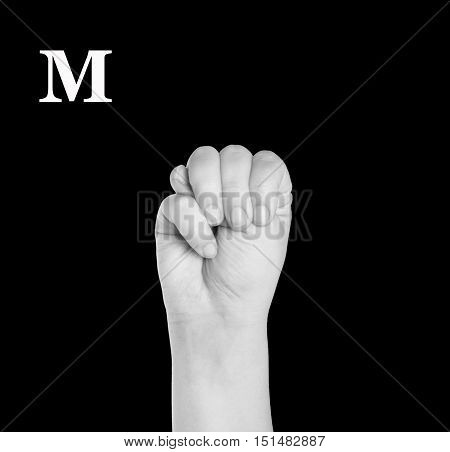 The Letter M. Finger Spelling the Alphabet in American Sign Language (ASL).